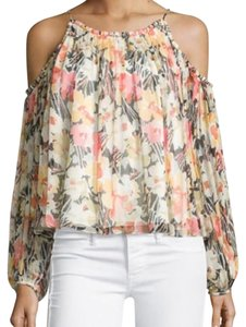 Elizabeth and James Off The Cold Floral Silk Summer Top Floral multi