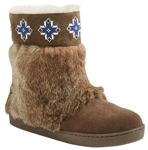 Tory Burch Suede Rabbit Fur Shearling Brown Boots