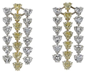 White and Yellow Diamond Gold Heart Earrings
