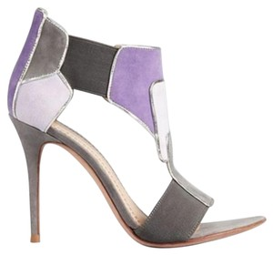 Jean-Michel Cazabat Suede Color-blocking Grey/Purple Sandals