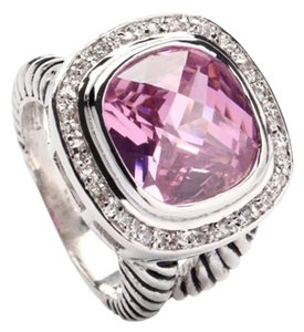 Ladies 12ct pink sapphire AAA CZ halo cocktail ring