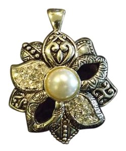 Large Flower Pendant Large Silver Flower Pendant with Pearl Bead Center, Designs and Rhinestones!