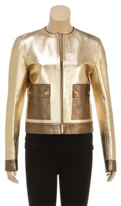 Gucci Metallic Leather Gold Leather Jacket