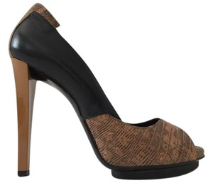 Balenciaga Peep Toe Leather Made In Italy Black / Python Pumps
