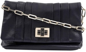 Anya Hindmarch Chain Leather Dark Blue Clutch
