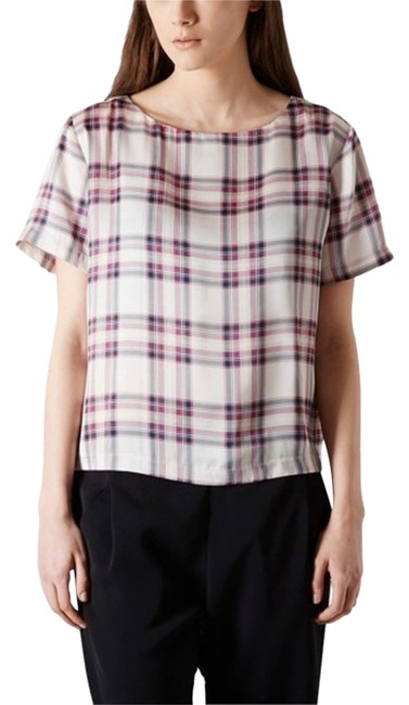 Item - Cream Red and Black Checkered Plaid Summer Blouse Size 6 (S)
