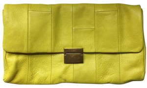 J.Crew Neon Leather Yellow Clutch