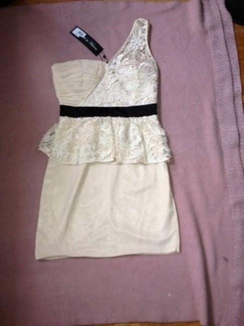 River Island Wedding Outfit Glam Night Out Rehersal Dinner Lace One Shoulder Lace Peplum Dress