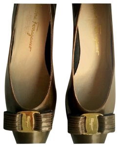 Salvatore Ferragamo Bronze Gold Pumps
