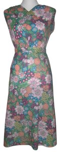 Vintage Crepe Georgette Skirt and Sleeveless Top Summer Two Piece with Floral and Fruit Pattern