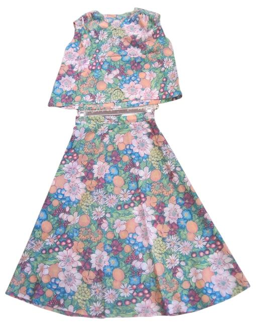 Other Vintage Crepe Georgette Skirt and Sleeveless Top Summer Two Piece with Floral and Fruit Pattern