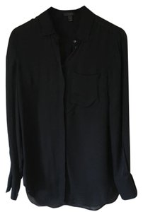 J.Crew Silk Longsleeve Button Down Shirt Black