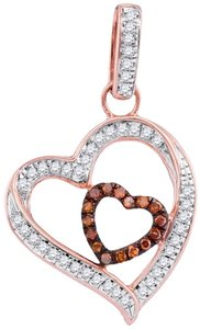 DESIGNER 10k WHITE & ROSE GOLD 0.15 CTTW DIAMOND MICRO PAVE LUXURY FASHION HEART PENDANT by BrianGdesigns