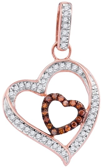 Other DESIGNER 10k WHITE & ROSE GOLD 0.15 CTTW DIAMOND MICRO PAVE LUXURY FASHION HEART PENDANT by BrianGdesigns