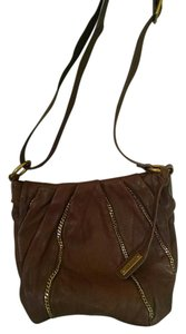 abro Genuine Leather Made In Romania Pebbled Adjustable Strap Gold Chain Accents Hobo Bag