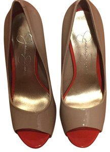 Jessica Simpson Beige and Red Platforms