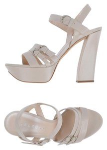 Casadei Chunky Heel Made In Italy White Sandals