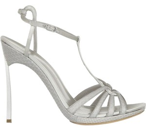 Casadei Made In Italy Metal Blade Heel Silver Grey Sandals