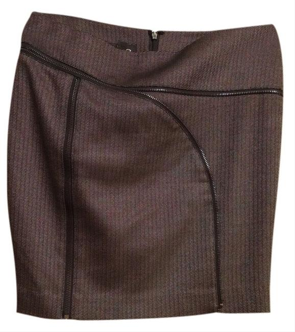 bebe Zippers Mini Skirt grey/ black