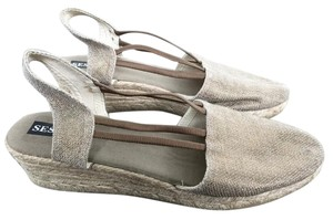 Sesto Espadrille Linen Made In Spain Silver brushed bronze Wedges