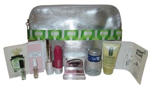 Clinique 10 pc. Clinique Bundle special deal! Big Summer sale! Includes: 1 Clinique Large cosmetic bag, silver with green and white trim front pocket design, 1 Clinique small orange cosmetic bag/coin purse. Makeup, skincare, and sample tube fragrance!