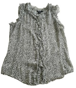 DKNY Donna Karen Sheer Top black and white polka dot
