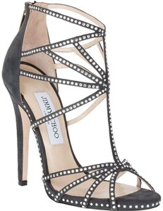 Jimmy Choo Crystal Vendetta Strappy Smoke Sandals