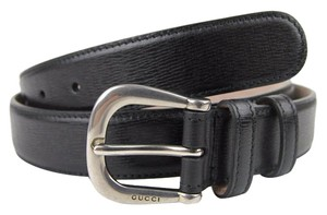Gucci New Authentic GUCCI Mens Black Leather Belt with Large Metal Buckle 295336 1000 85/34