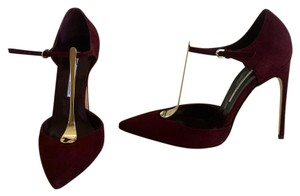 Brian Atwood T-strap Pointed Toe Gold Red Pumps