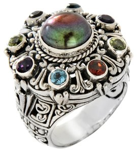 Bali Designs by Robert Manse Black Mabe' Pearl and Multigemstone Sterling Silver Ring - Size 7