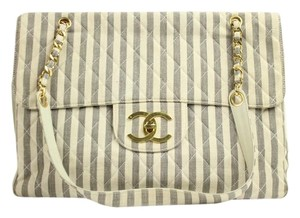 Chanel Striped Jumbo Xl Super Model Vintage Striped White/Blue Travel Bag