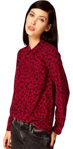 Equipment Animal Print Leopard Cheetah Printed Top Red