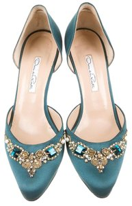 Oscar de la Renta In Italy Satin Pump Green Pumps