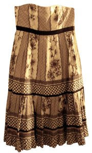 Plenty by Tracy Reese short dress Brown/Cream Multi-print Cotton Strapless Tiered on Tradesy