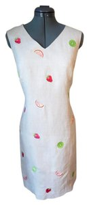 Jillian Jones Embroidered Sheath Linen Day Dress