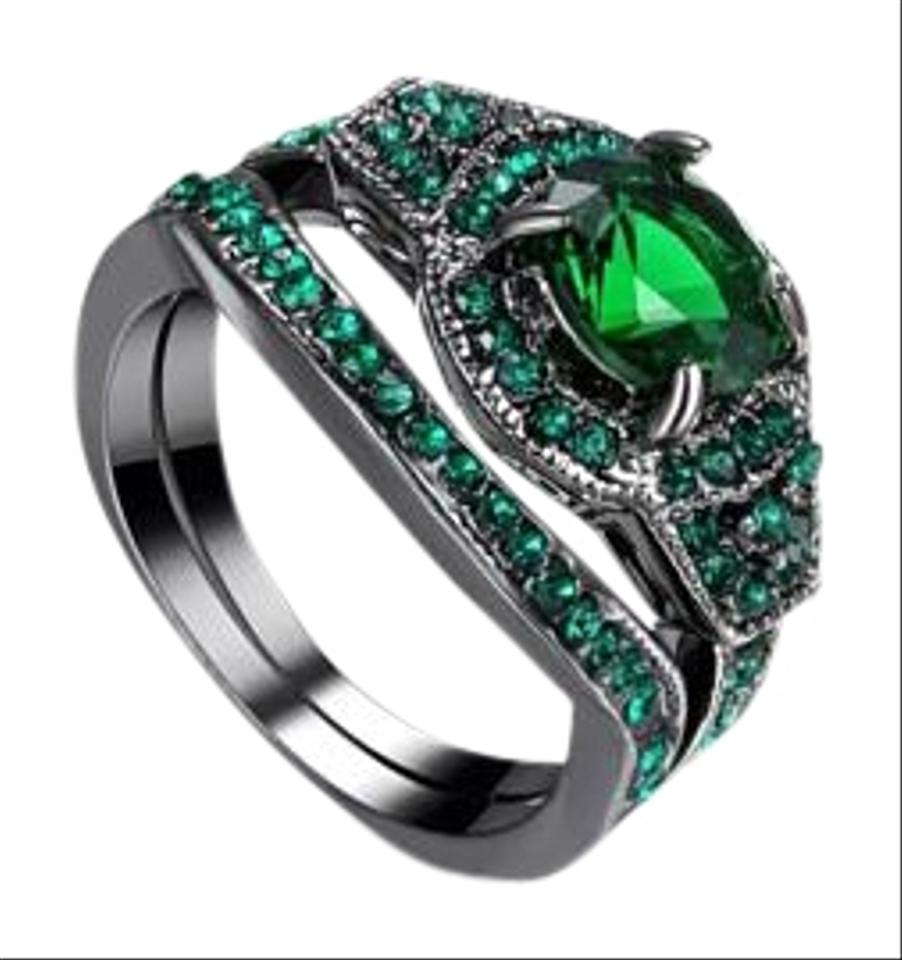green wedding treated diamond ring cut eternity round diamonds half emerald band set gold stacking lab rose rings matching