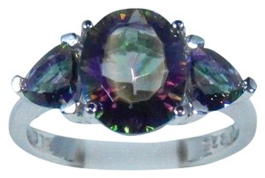 9.2.5 Oval Shaped Mystic Quartz Starburst Cut Sterling Silver Ring