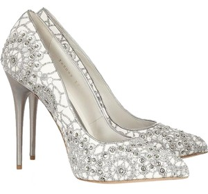 Alexander McQueen Made In Italy Swarovski Crystals Embroidered Bridal Pointed Toe White, Silver Pumps