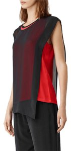 AllSaints Silk T-shirt Chiffon Asymetrical Top Black/ Mandarin