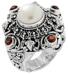 Other Bali Designs by Robert Manse Cultured Mabe' Pearl and Garnet Sterling Silver Ring - Size 8