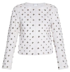 Diane von Furstenberg Leather Studded White Chalk Leather Jacket
