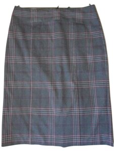United Colors of Benetton Pencil Summer Weight Lined Skirt Gray Multi-color Plaid
