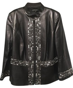Lafayette 148 New York Leather Black Jacket