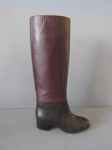 Chanel Quilted Leather Knee Brown Boots