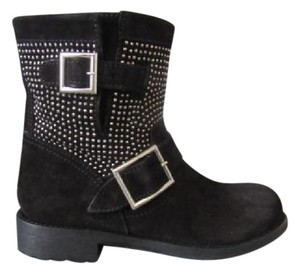 Jimmy Choo Youth Suede Studded Short Black Boots