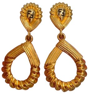Fendi Fendi Bold Clip on Dangle Earrings