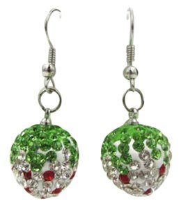 New Crystal Covered Strawberry Red White Green Dangle J2691