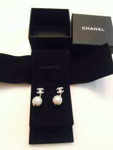 Chanel White Pearl New 2014 Iconic Silver Cc's Dangling Earrings