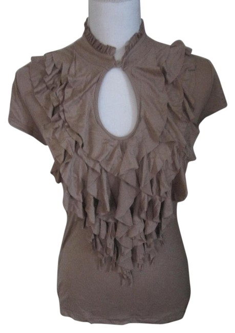 Item - Light Brown/Caramel T-shirt with Ruffle Tiers In The Front Tee Shirt Size 6 (S)