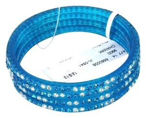 Chamak by Priya Kakkar Chamak by Priya Kakkar Pave Crystal Bangle Bracelets Set of 4 Blue NWT $55